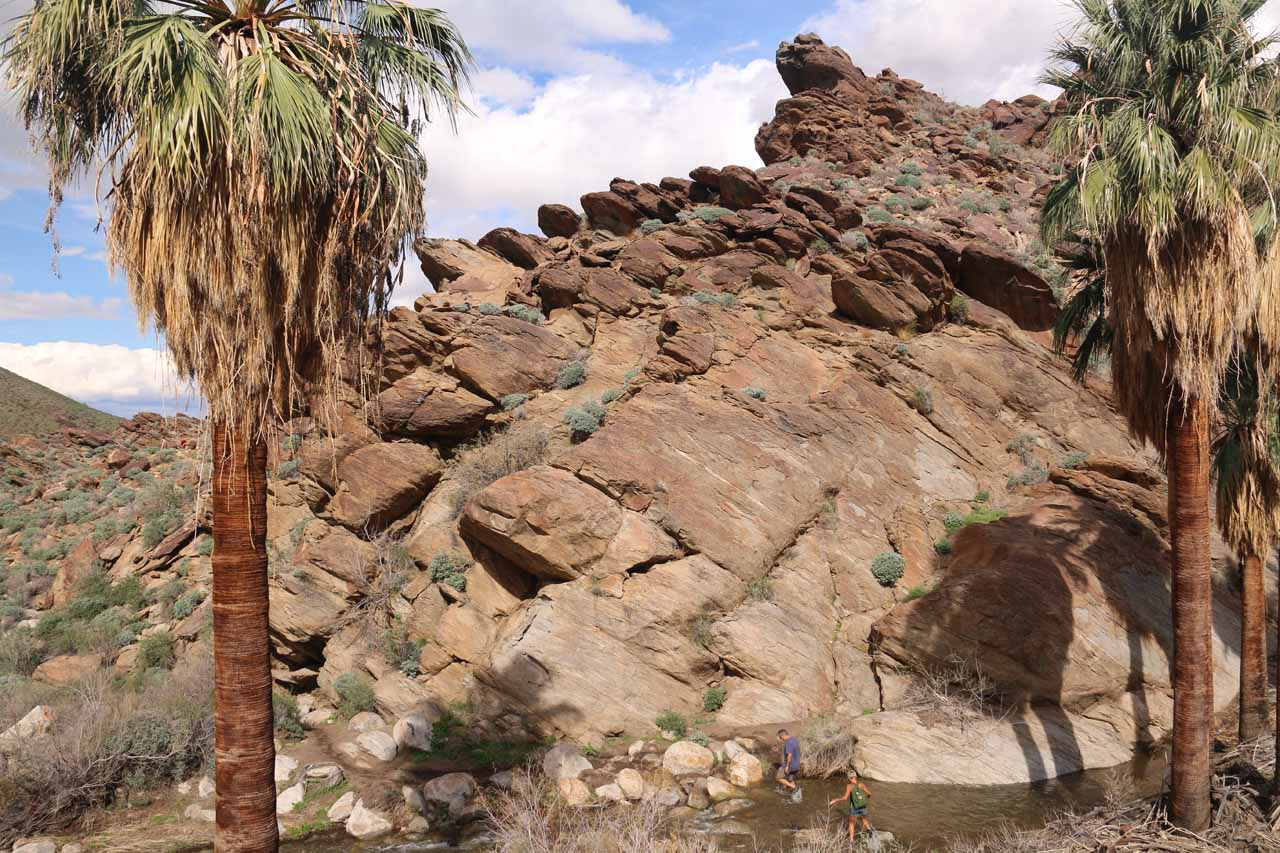 Approaching the interesting rock formations near where the mule train had veered away from the Murray Canyon Trail