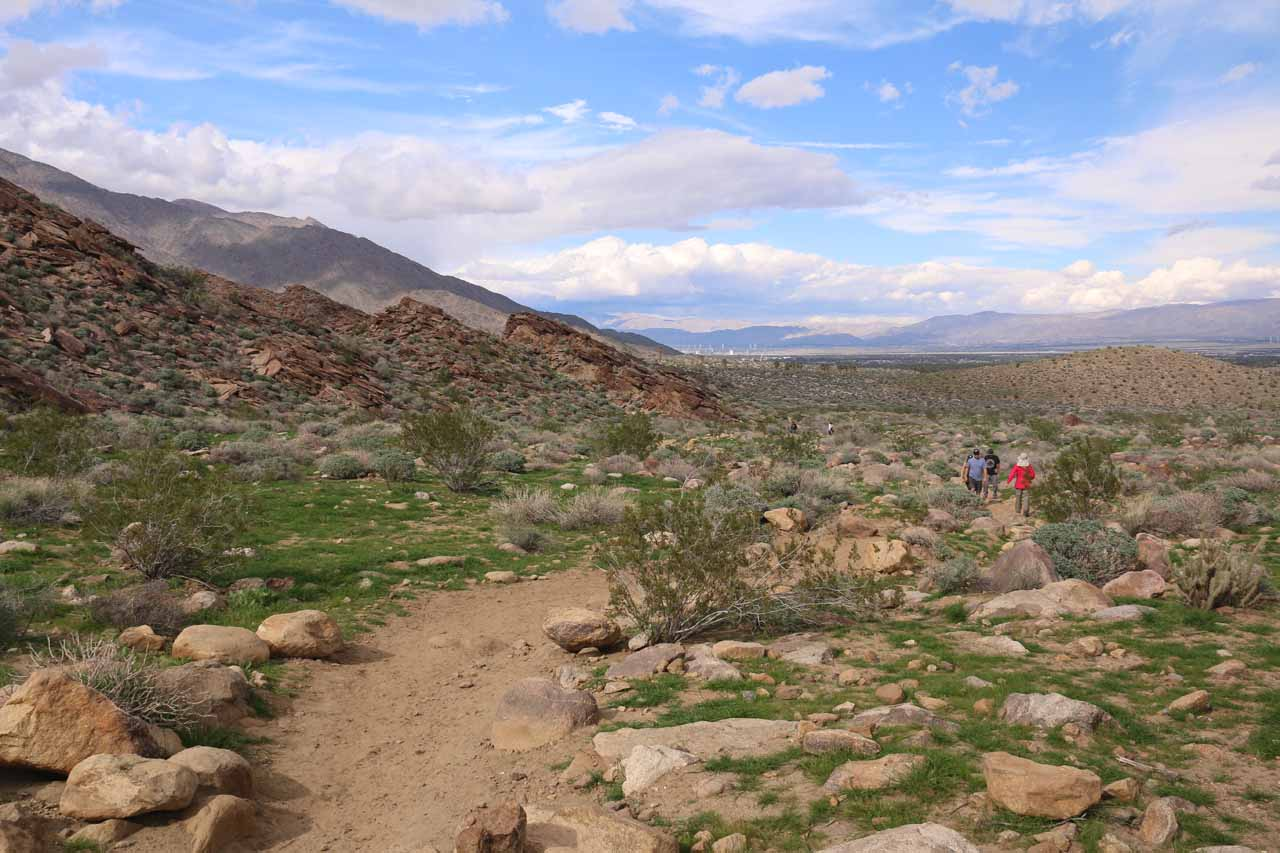 Back at the flat desert part of the trail with blue skies starting to show more and more of itself