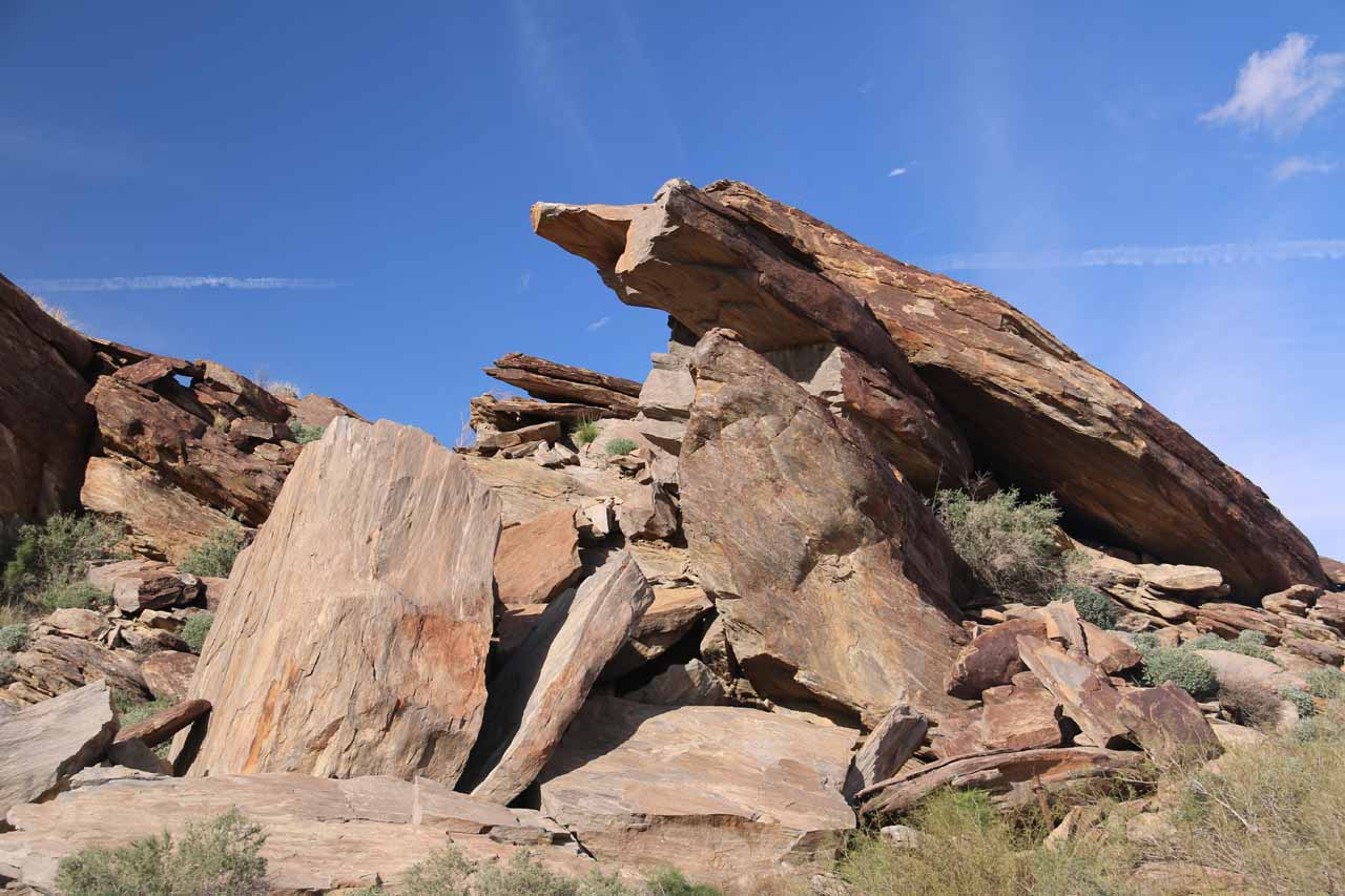 Closer look at one of the eccentric formations near the so-called Pride Rock at Andreas Canyon