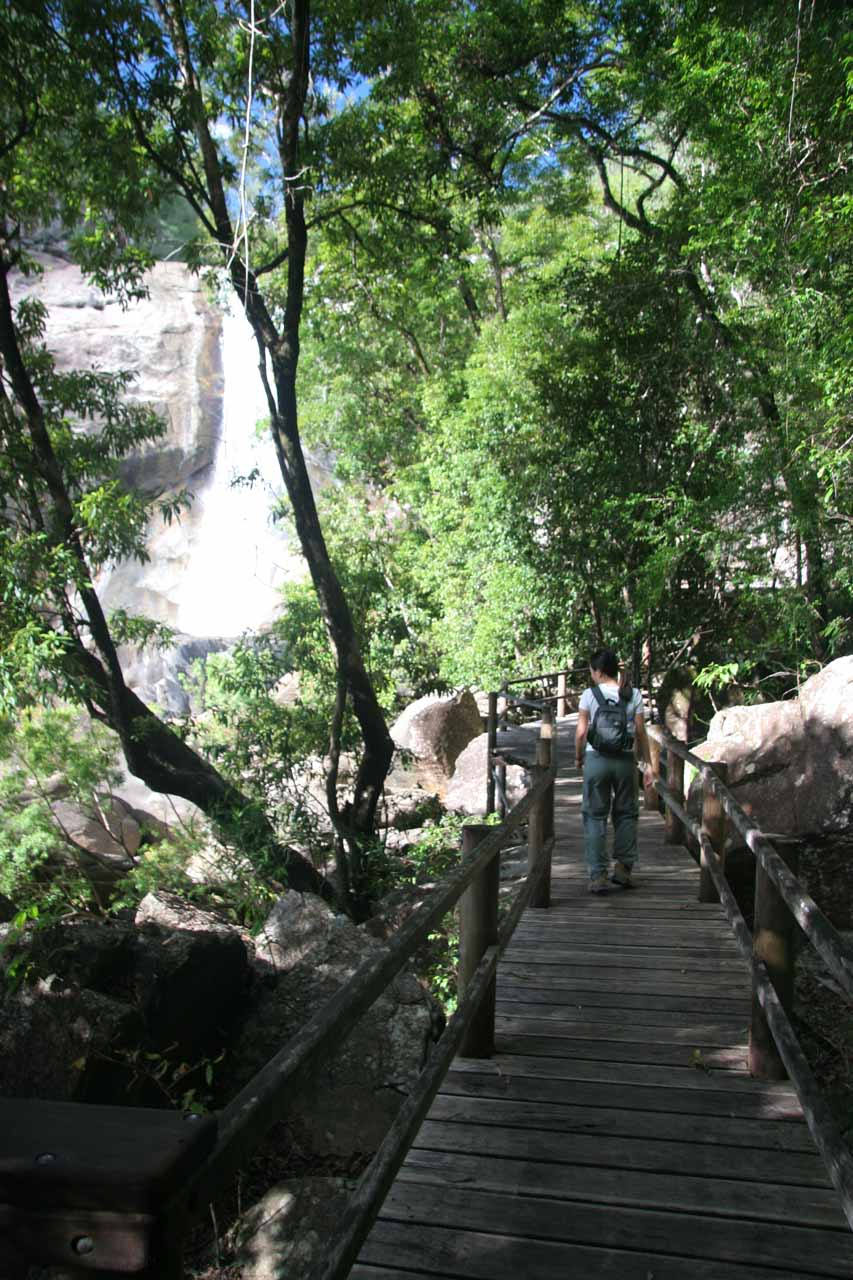 Julie walking towards Murray Falls