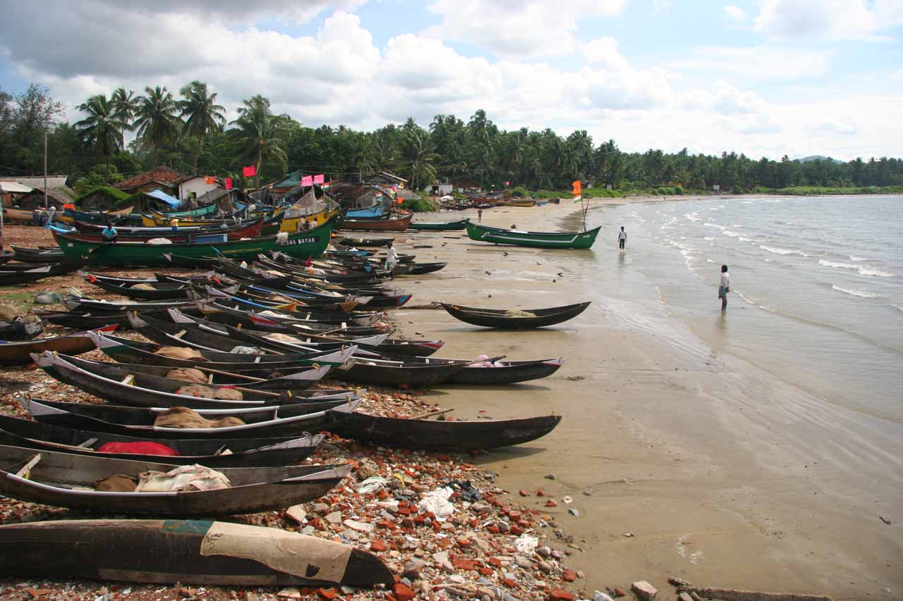 Last look at a lot of boats on a beach at Murudeshwar