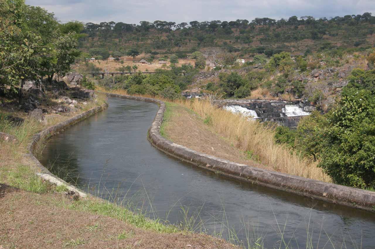 Partial view of Musonda Falls behind diversion canal