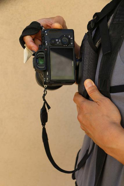 In order to engage or disengage my camera from the Cotton Carrier Strapshot Holster, I needed to rotate the camera at a 90 degree angle relative to its resting position where the camera would point straight down