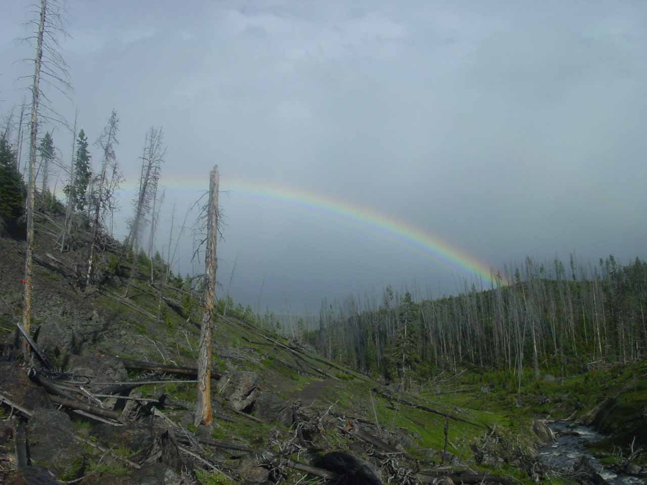 Bold rainbow as seen from the Mystic Falls Trail