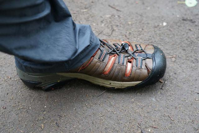 Closeup look at me wearing my Keen Arroyo II sandals after they were wet from a lot of hiking in water and wet foliage