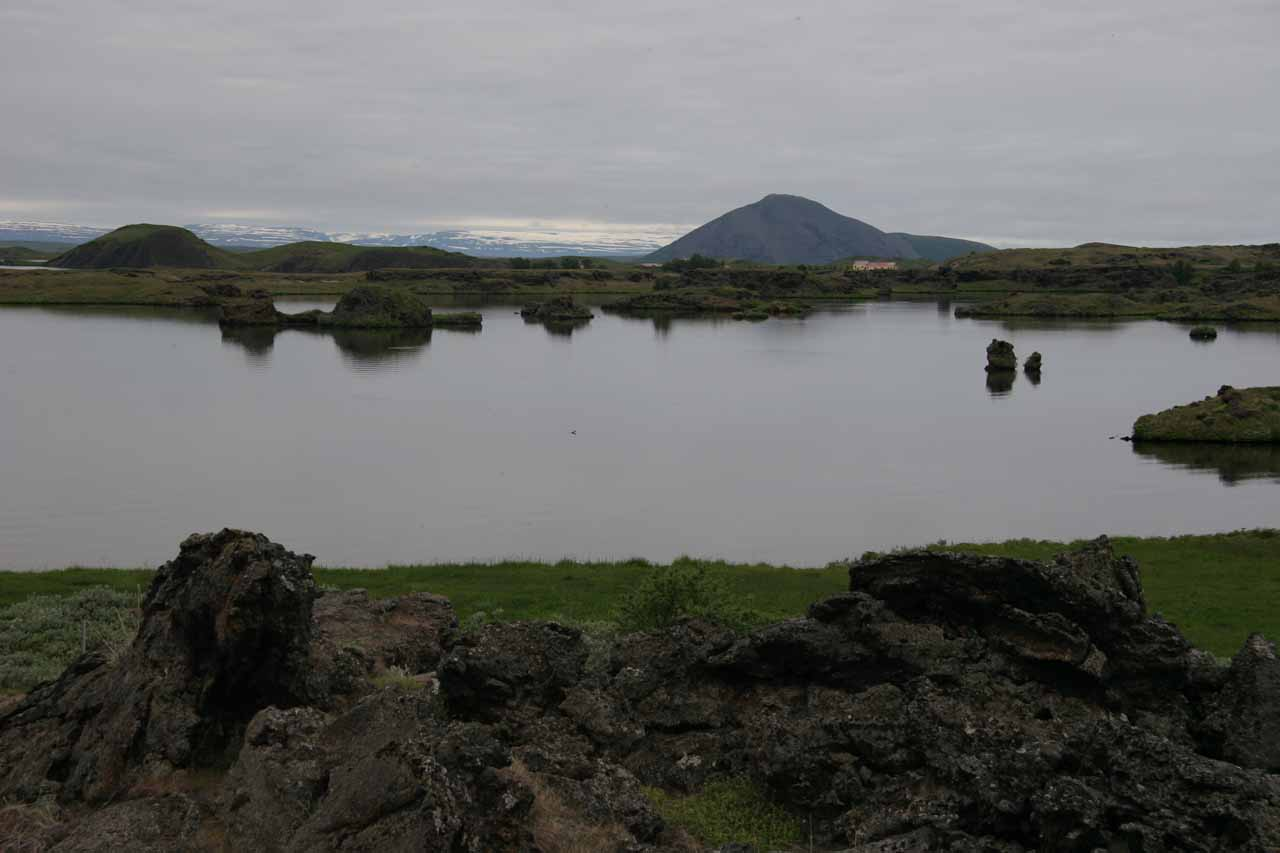 A short distance further east on the Ring Road from the Skjálfandafljót (the river responsible for Aldeyjarfoss and Goðafoss) was the picturesque lake Mývatn