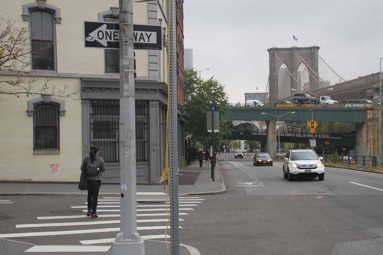 Walking towards the Brooklyn Bridge