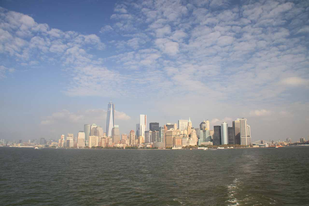 Looking back at the New York City Skyline while on the boat to the Statue of Liberty