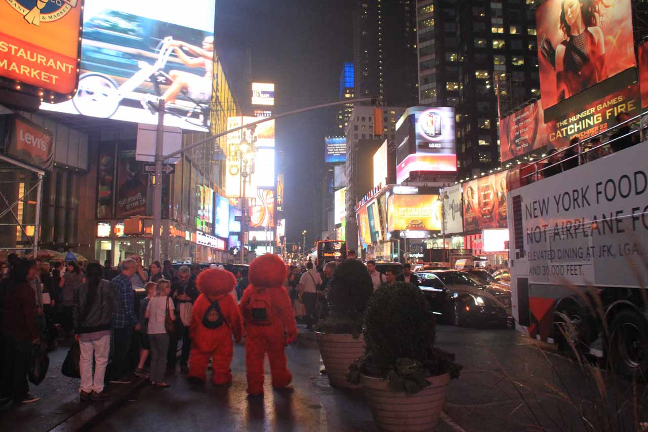 Pair of Elmos at Times Square