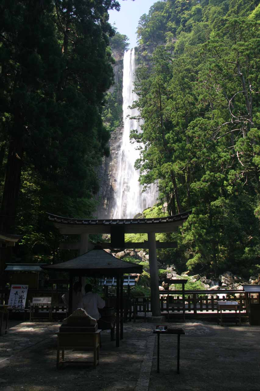 Direct view of Nachi Waterfall from the shrine area below the lower viewing deck