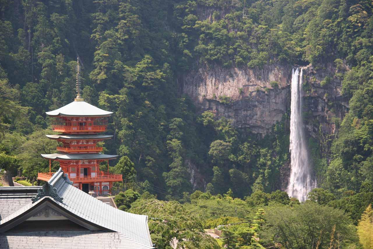 Distant look at pagoda and Nachi-no-taki