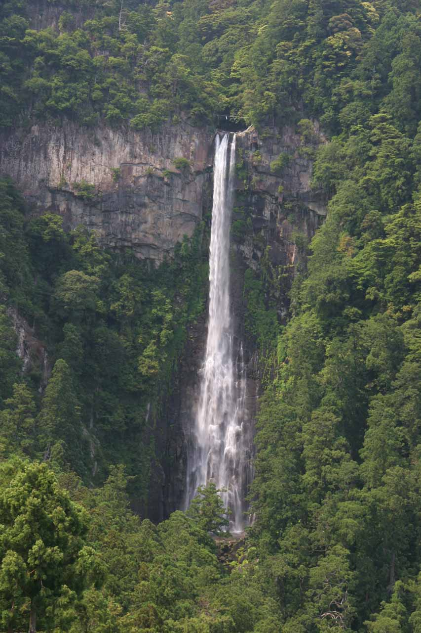 Zoomed in view of the Nachi Waterfall from the pagoda