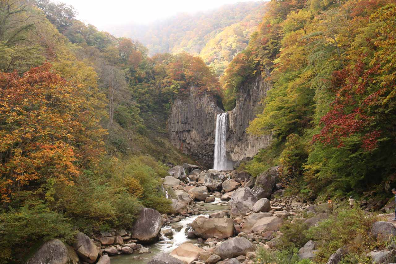 Naena Waterfall surrounded by the koyo