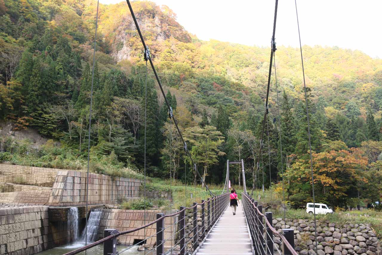 Mom going back across the first suspension bridge as we were getting close to the car park