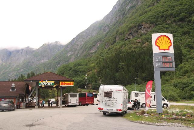 Naeroydalen_151_07232019 - Looking towards the Shell Station at Gudvangen, where there appeared to be a lot behind the gas station though I wasn't sure if that was the official public lot for Gudvangen itself