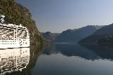 Naeroyfjoren_Cruise_014_07232019 - Cruising past the docked cruise liner and heading north deeper into Aurlandsfjorden