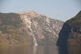 Naeroyfjoren_Cruise_120_07232019 - Looking towards a big landslide scar on Aurlandsfjorden as we were cruising towards Undredal on the Naeroyfjorden Cruise