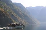 Naeroyfjoren_Cruise_130_07232019 - Looking back at the modern cruise ship going in the opposite direction by us in Aurlandsfjorden on our Naeroyfjorden Cruise