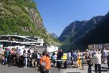 Naeroyfjoren_Cruise_527_07242019 - Lots of people waiting to get on the cruise boat to sail the Nærøyfjord and the Aurlandsfjord in the opposite direction that we did it