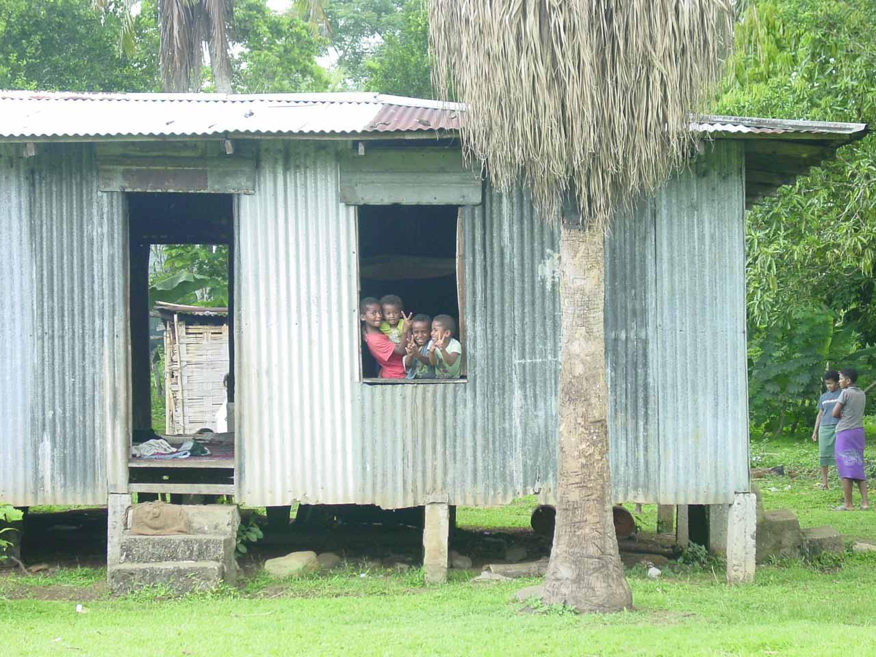 Fijian kids in the village of Nakavika