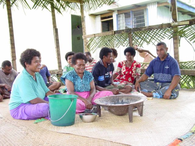 Nakavika_007_12262005 - Fijians taking part in a kava drinking ceremony