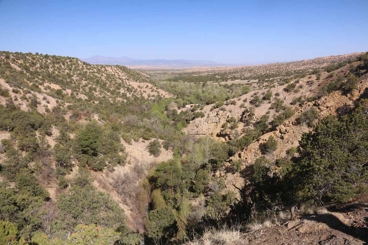 This was the view looking back towards the picnic grounds and parts of the Nambe Pueblo from the Nambe Falls Overlook