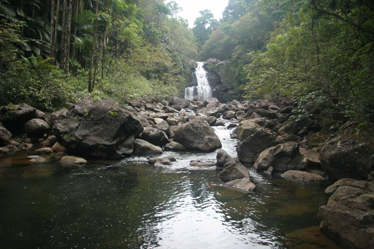Contextual view of Nanue Falls after the awkward stream scramble