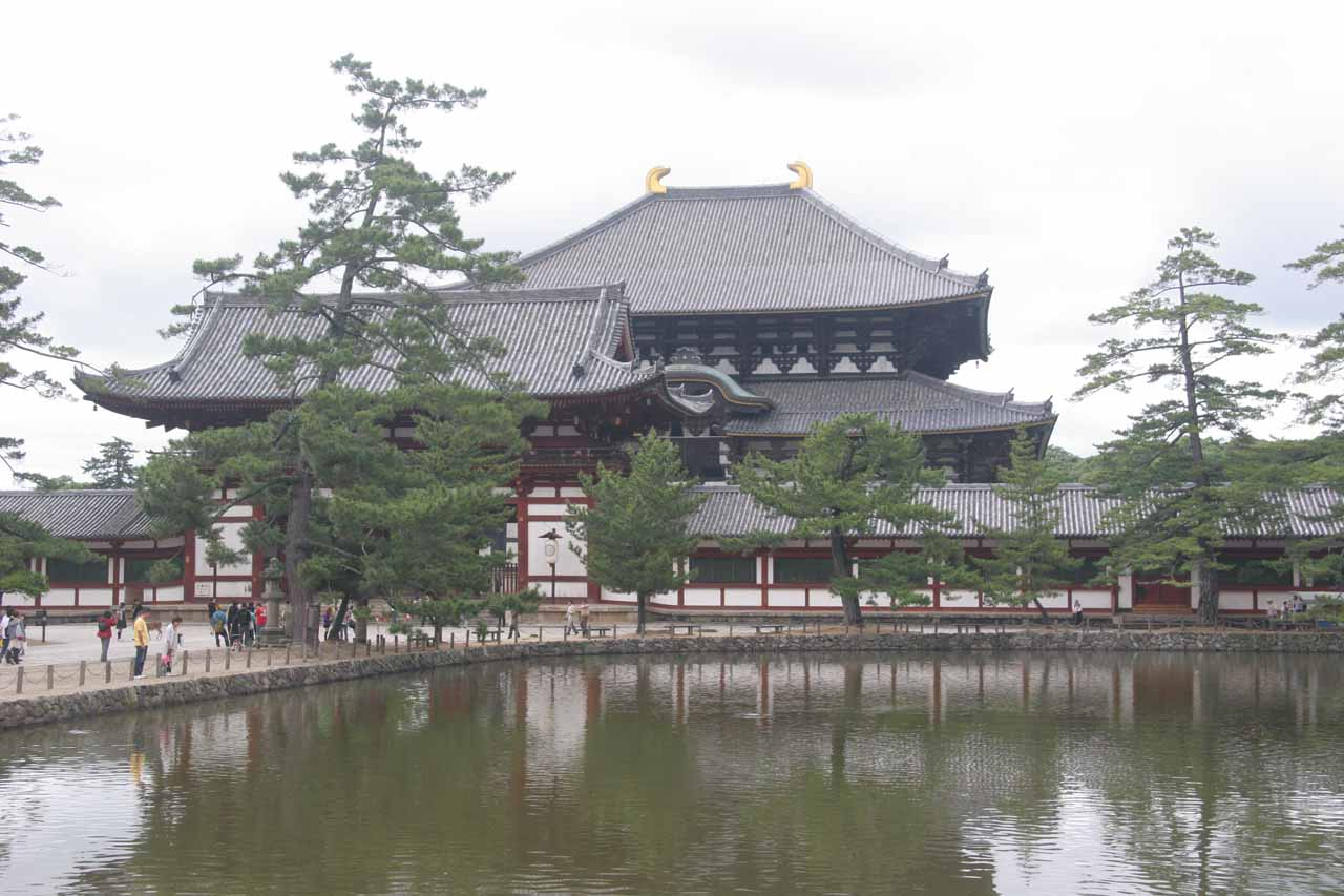 Todai-ji over a pond