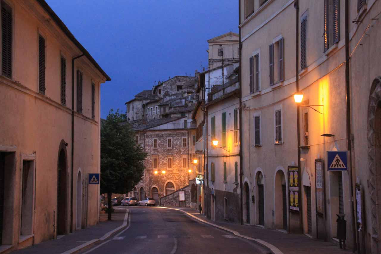 Walking back to our car within the twilight hours from within Narni