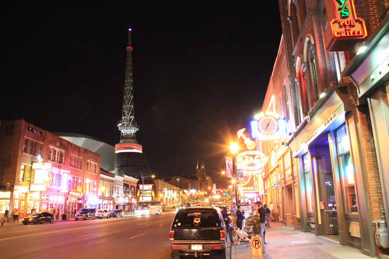 West of Cookeville was the city of Nashville, which featured a happening strip full of bars featuring live performers of blue grass and country. We saw people line dancing in the more popular venues