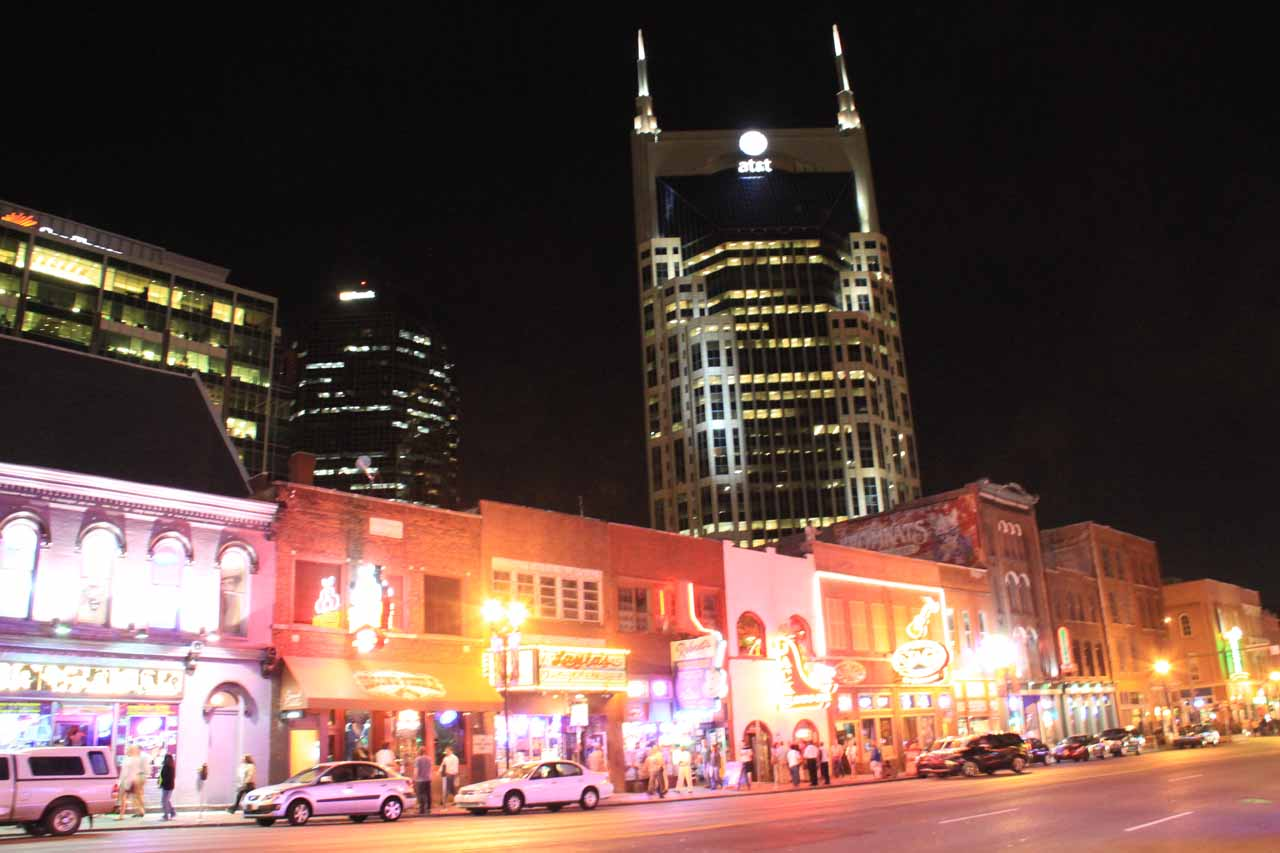 Looking across the street in downtown Nashville