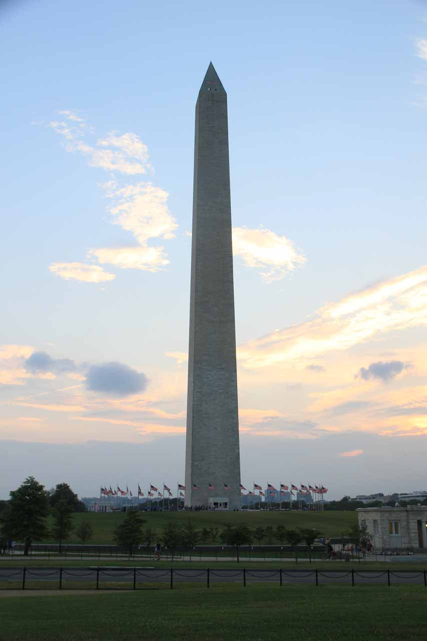 Closer look at the Washington Monument at sunset
