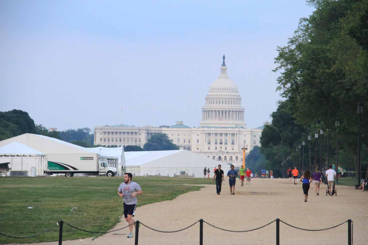 Looking back towards Capitol Hill from the National Mall quad area