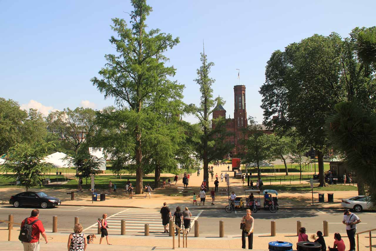 Looking back towards the Smithsonian Castle from the steps of the Smithsonian Natural History Museum