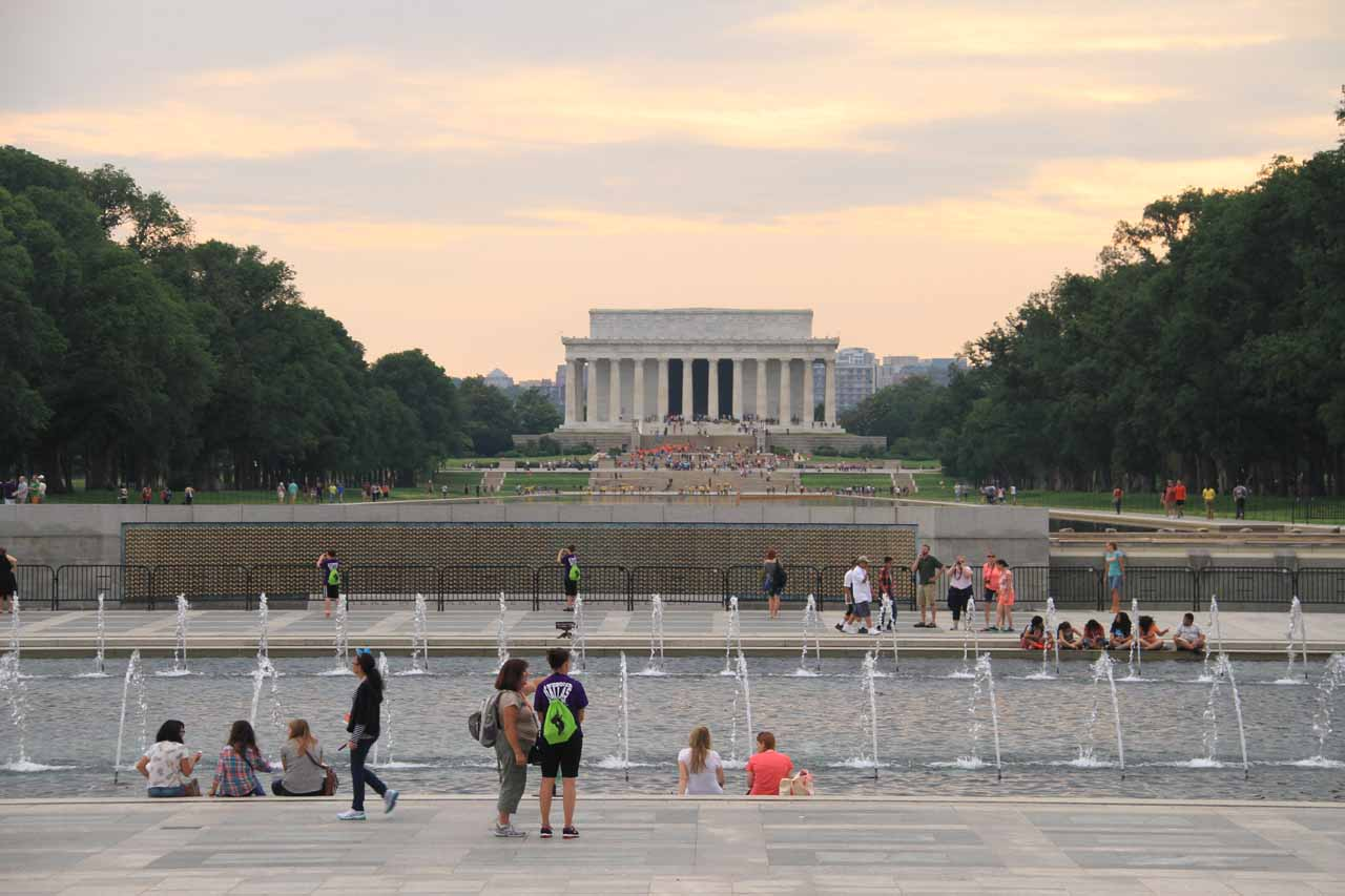 Looking past the World War II fountains towards the Lincoln Memorial