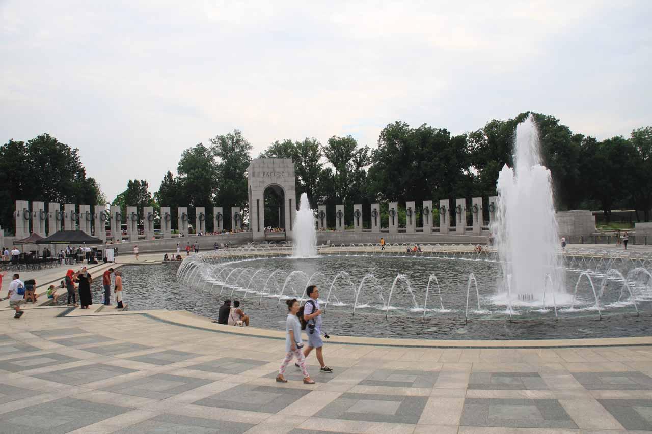 Looking back towards the World War II fountain