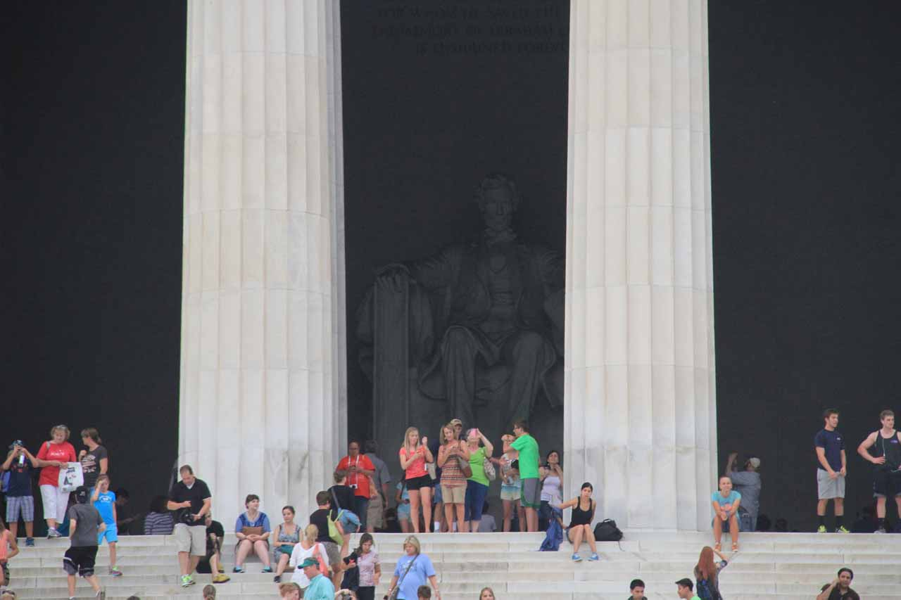 Approaching the statue of Abe Lincoln