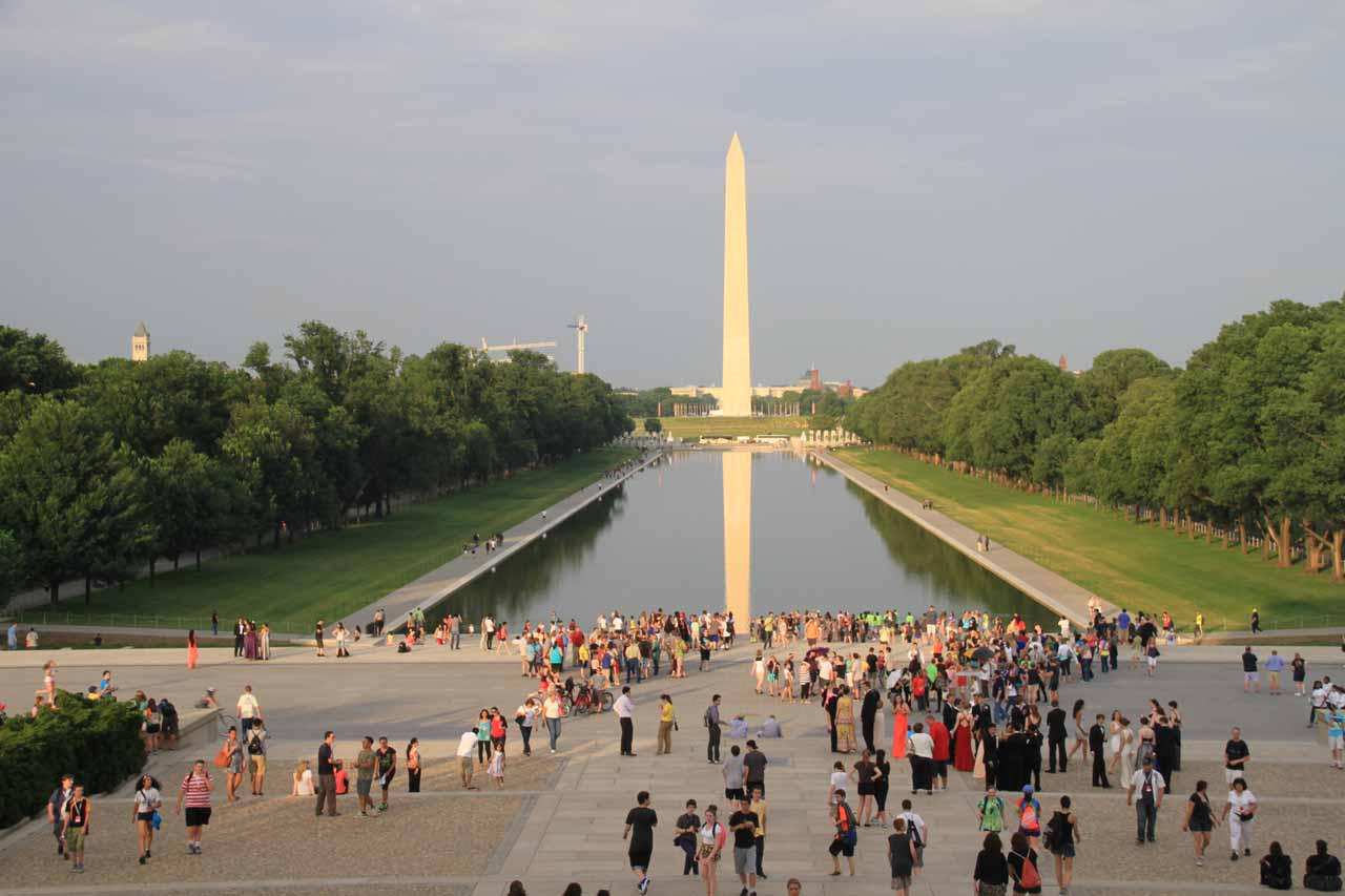 Contextual view looking at the crowd around the Lincoln Memorial