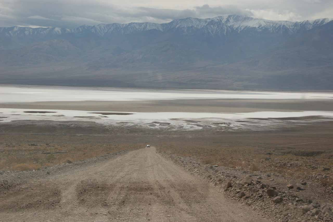 Driving back down towards the salt flats below sea level