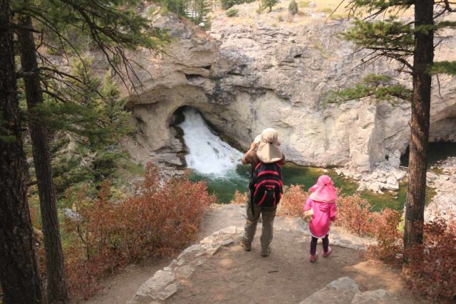 Natural_Bridge_Falls_063_08092017 - Context of Julie and Tahia checking out the Natural Bridge Falls from the lookout directly across the gorge