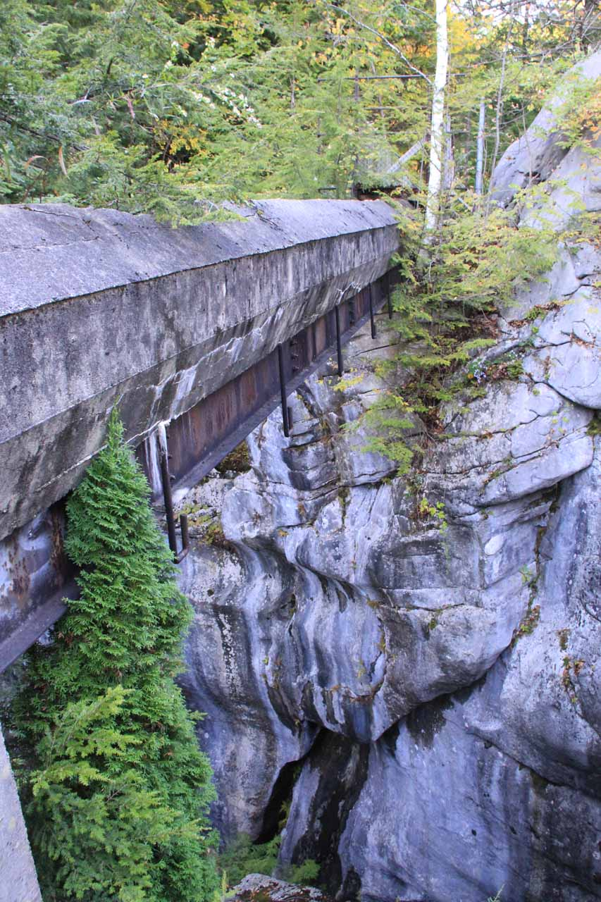 Remnants of the old quarrying operation could be found around the Natural Bridge
