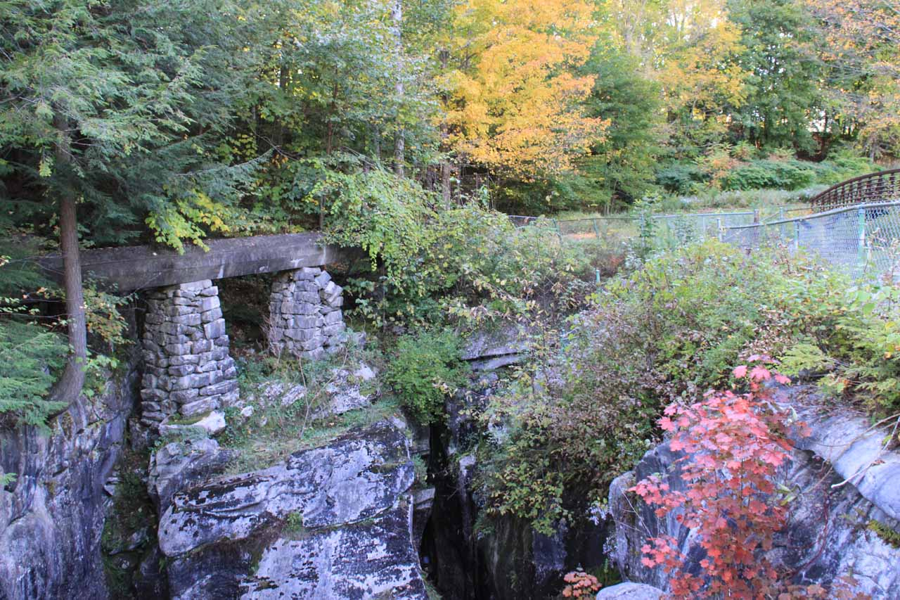 More remnants of the old quarrying operation between the man-made waterfall and the Natural Bridge