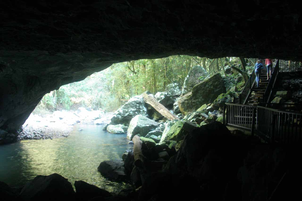 Looking out towards the opening of the Natural Bridge