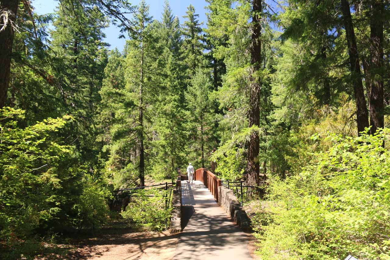 Approaching the footbridge spanning the raging Rogue River