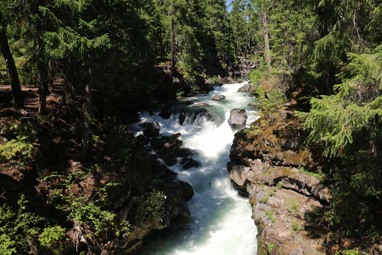 Looking upstream along the Rogue River at a few tiers of cascades and rapids from the footbridge