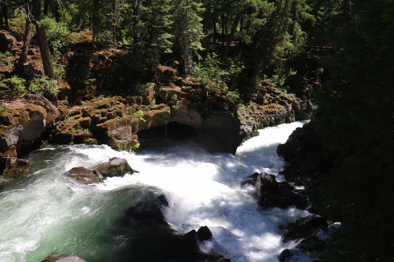 One of the lava caves and lava tubes comprising the Natural Bridge covering the Rogue River along with its many rapids and cascades in the area