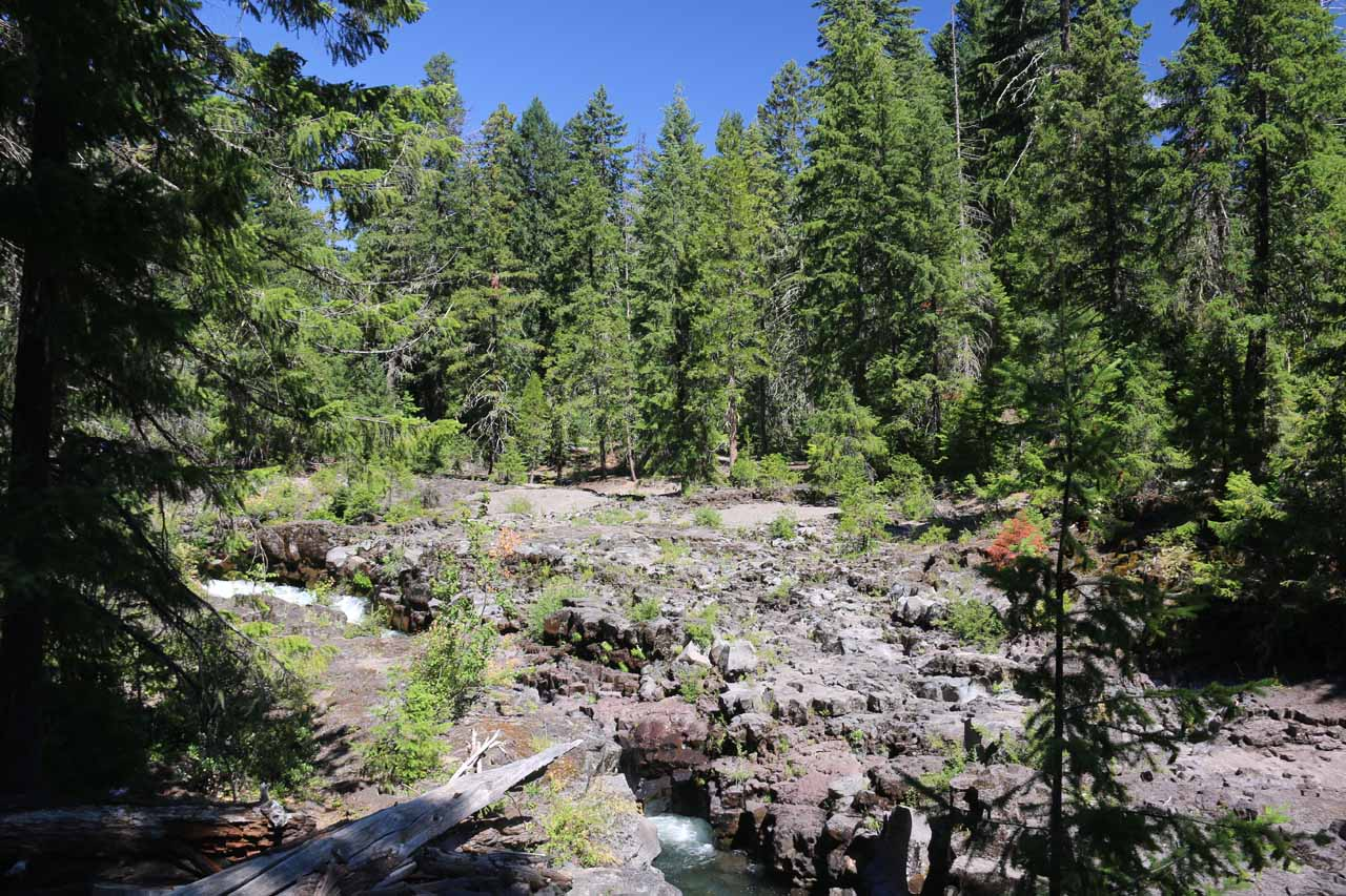Looking upstream towards where the majority of the Rogue River eerily disappeared beneath the Natural Bridge revealing only hints of the turbulence below such as blowholes, potholes, and other rushing sections where the lava tube had collapsed