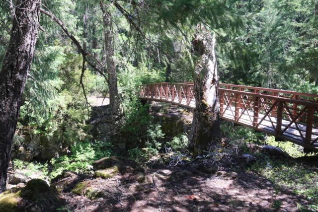 Natural_Bridge_rogue_043_07152016 - Heading back to the footbridge over the Rogue River, which would be the much safer way to cross it instead of over the Natural Bridge on the Rogue River, which the Native Americans had done