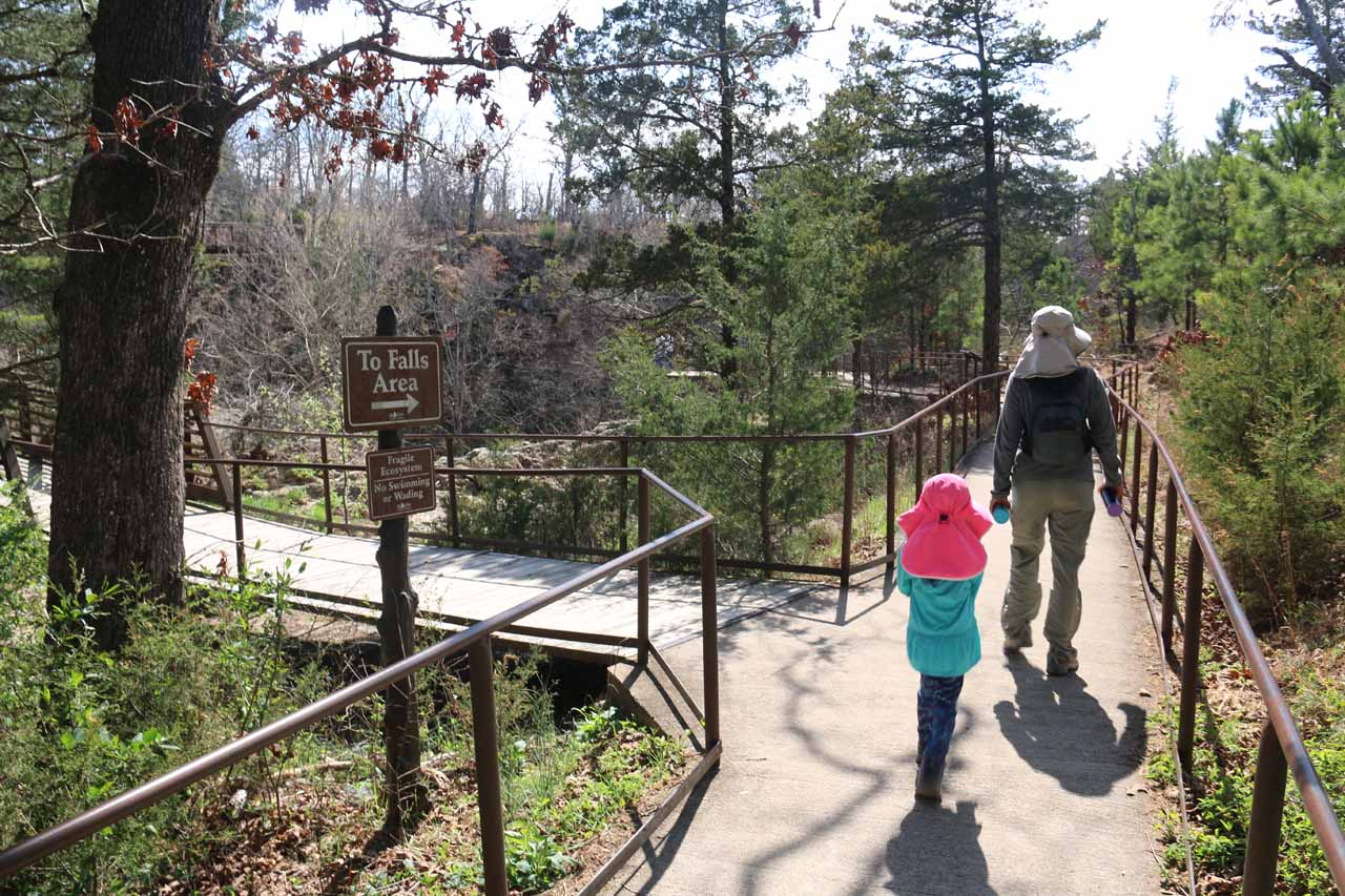 Julie and Tahia on the well-established walkway leading to Natural Falls