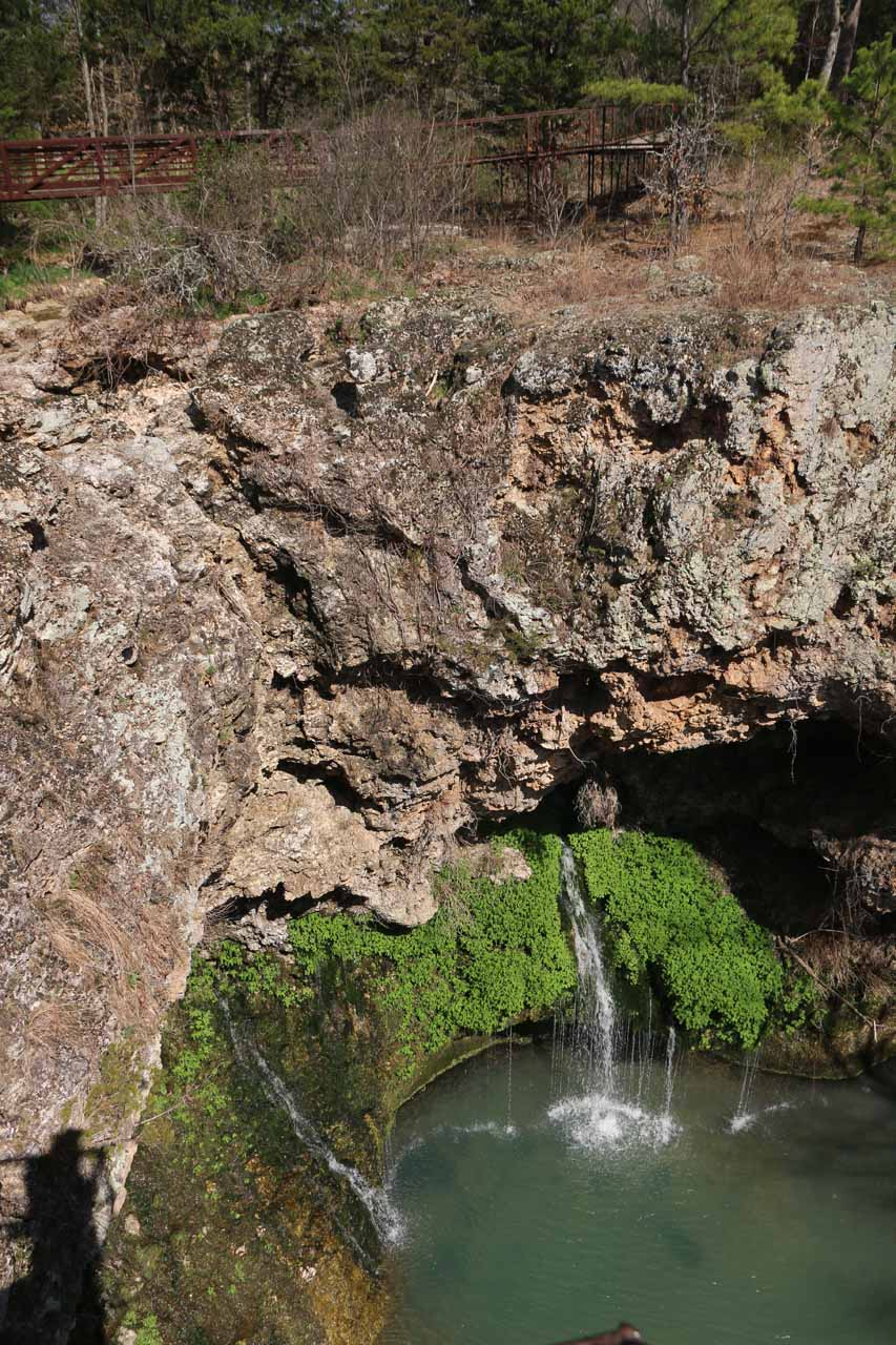 Looking down at the Dripping Springs and where the Natural Falls was supposed to plunge